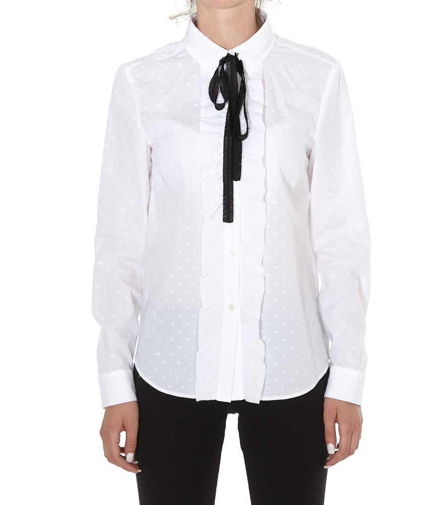 Red Valentino Pussy Bow Ruffled Trim Shirt
