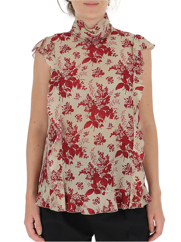 Red Valentino Floral Print Ruffle Trim Blouse