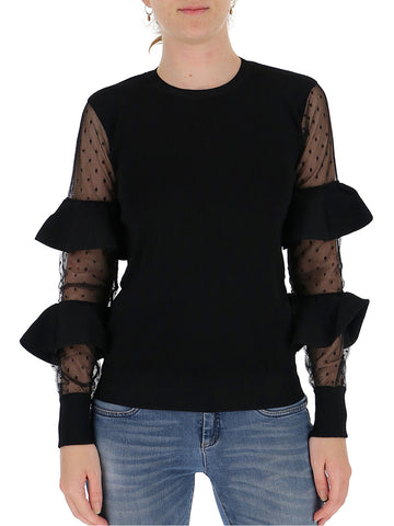 Red Valentino Ruffles Sheer Panelled Blouse