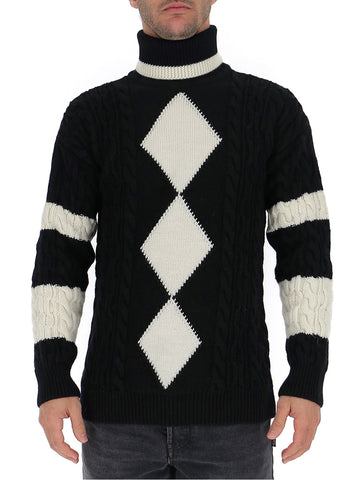 Saint Laurent Argyle Turtle Neck Knitted Pullover