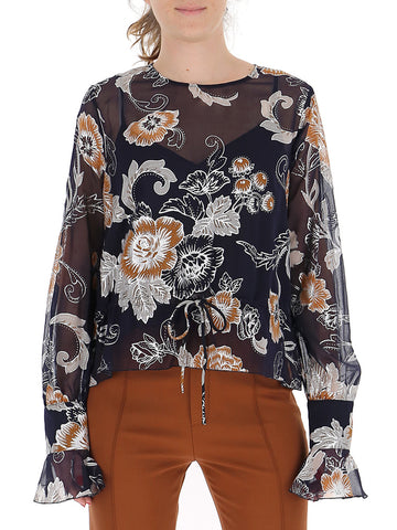 See By Chloé Jacquard Floral Sheer Blouse