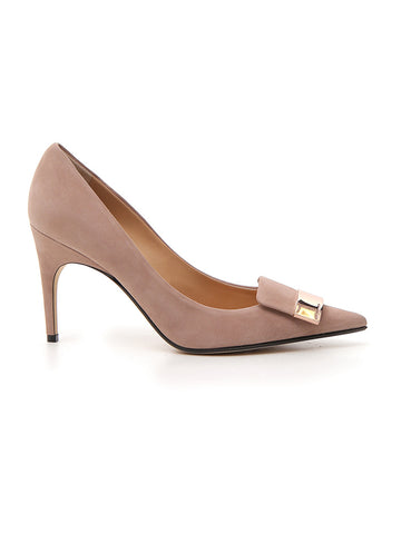 Sergio Rossi Pointed Toe Plaque Detail Pumps