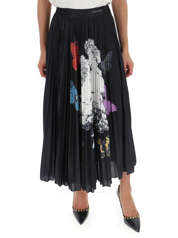 Valentino Graphic Printed Pleated Midi Skirt