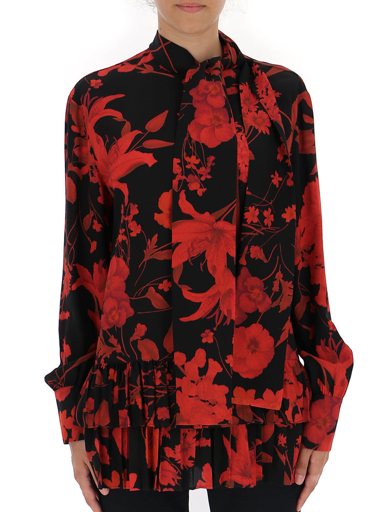 Valentino Floral Print Pleated Trim Blouse
