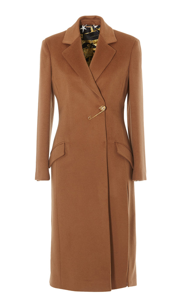 Versace Concealed Coat In Brown