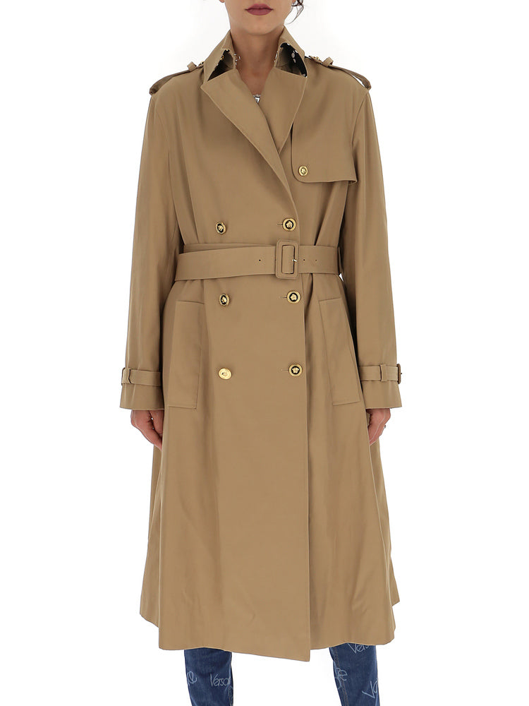 Versace Baroque Printed Belted Trench Coat In Multi