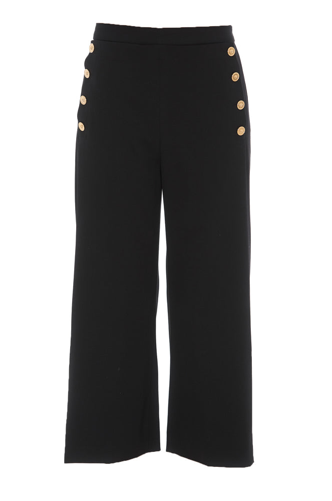 Versace Medusa Buttons Cropped Trousers In Black