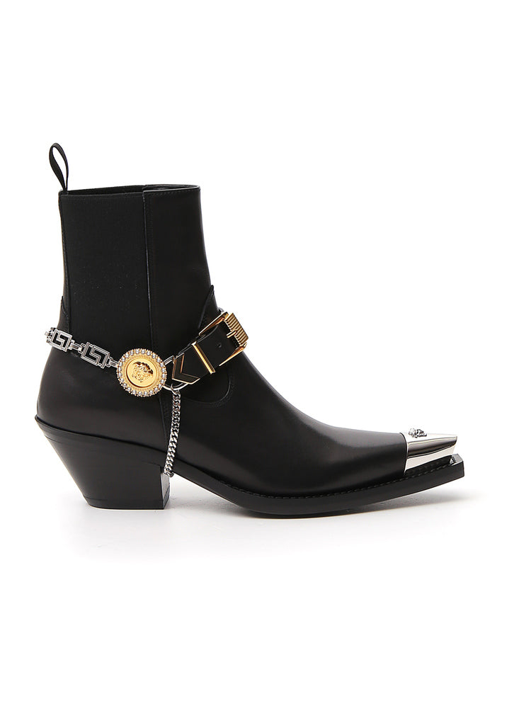 Versace Boots VERSACE MEDUSA BUCKLE STRAP POINTED TOE ANKLE BOOTS