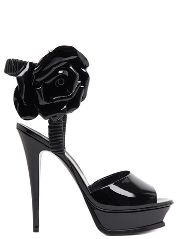 Saint Laurent Tribute Rose Detail Sandals