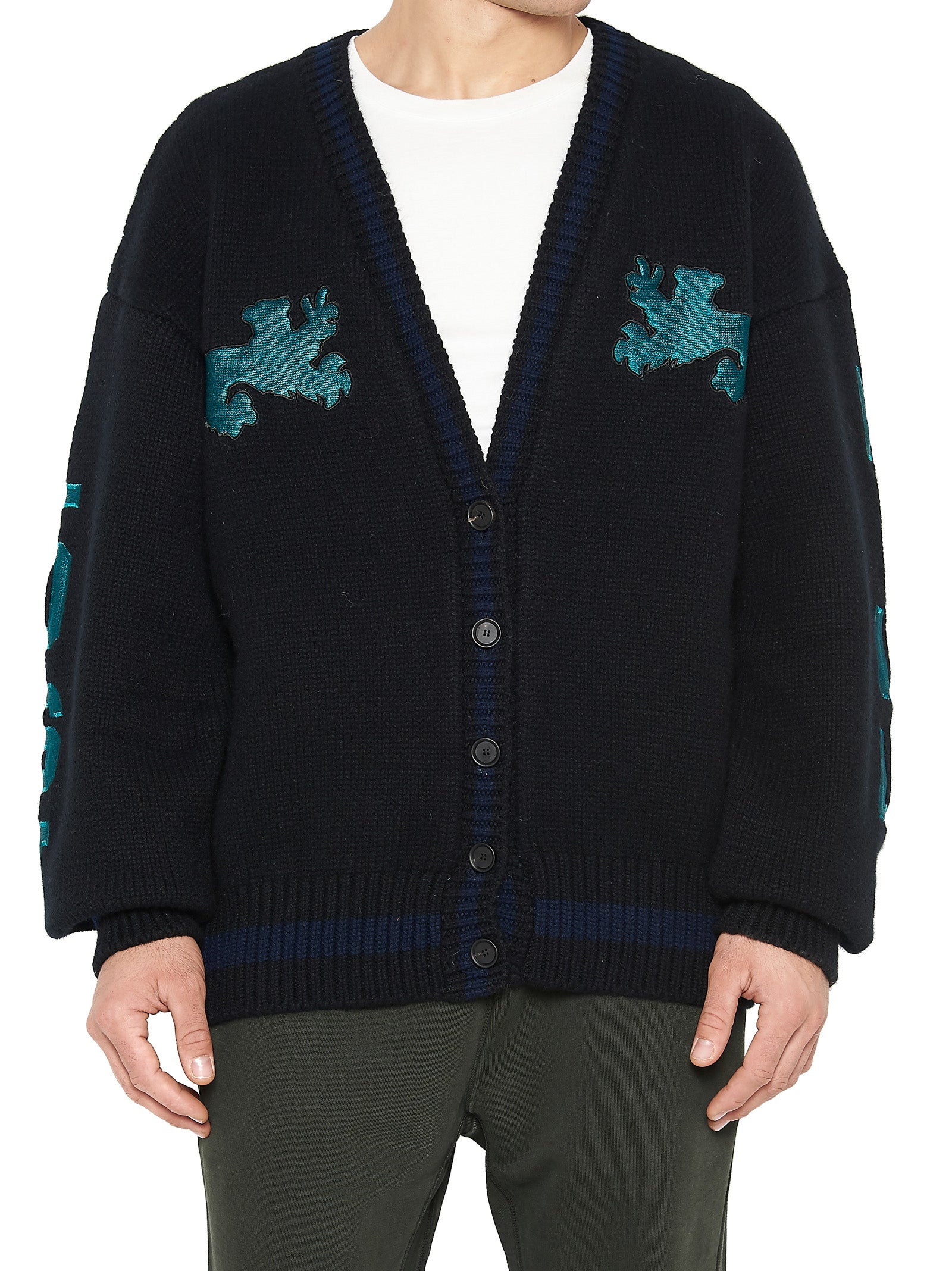 YEEZY EMBROIDERED KNITTED CARDIGAN