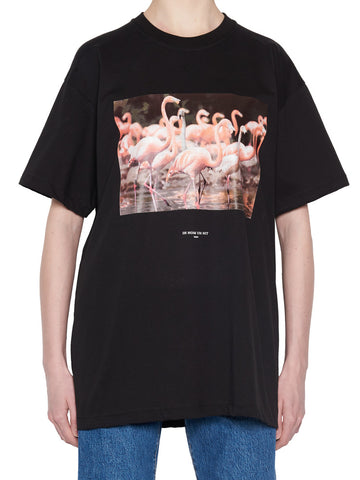 Ih Nom Uh Nit Flamingo Print Crew Neck T-Shirt