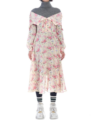 Junya Watanabe Knitted Turtleneck Floral Dress