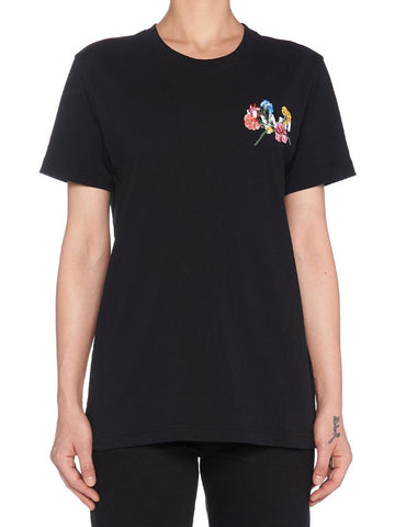 Off-White Embroidered Flowers T-Shirt