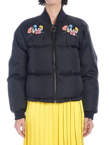 Off-White Flower Embroidered Bomber Jacket