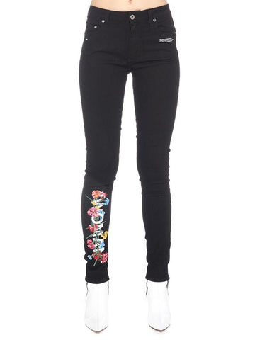 Off-White Flower Embroidered Skinny Jeans