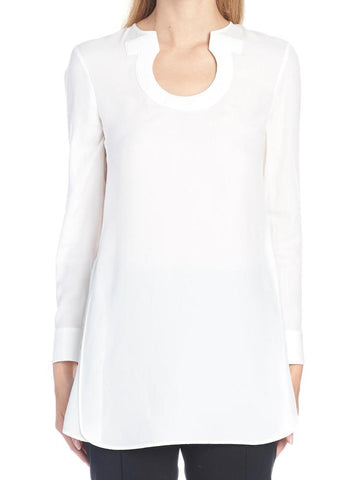 Salvatore Ferragamo Gancini Neckline Long Sleeve Blouse
