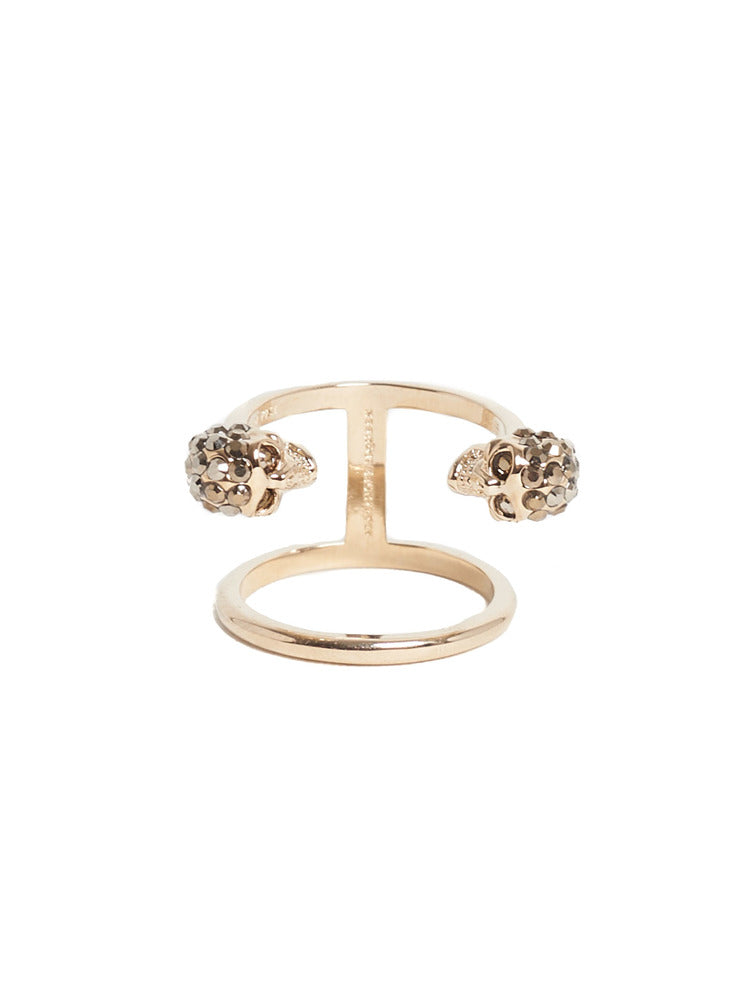 Twin Skull Ring in Gold