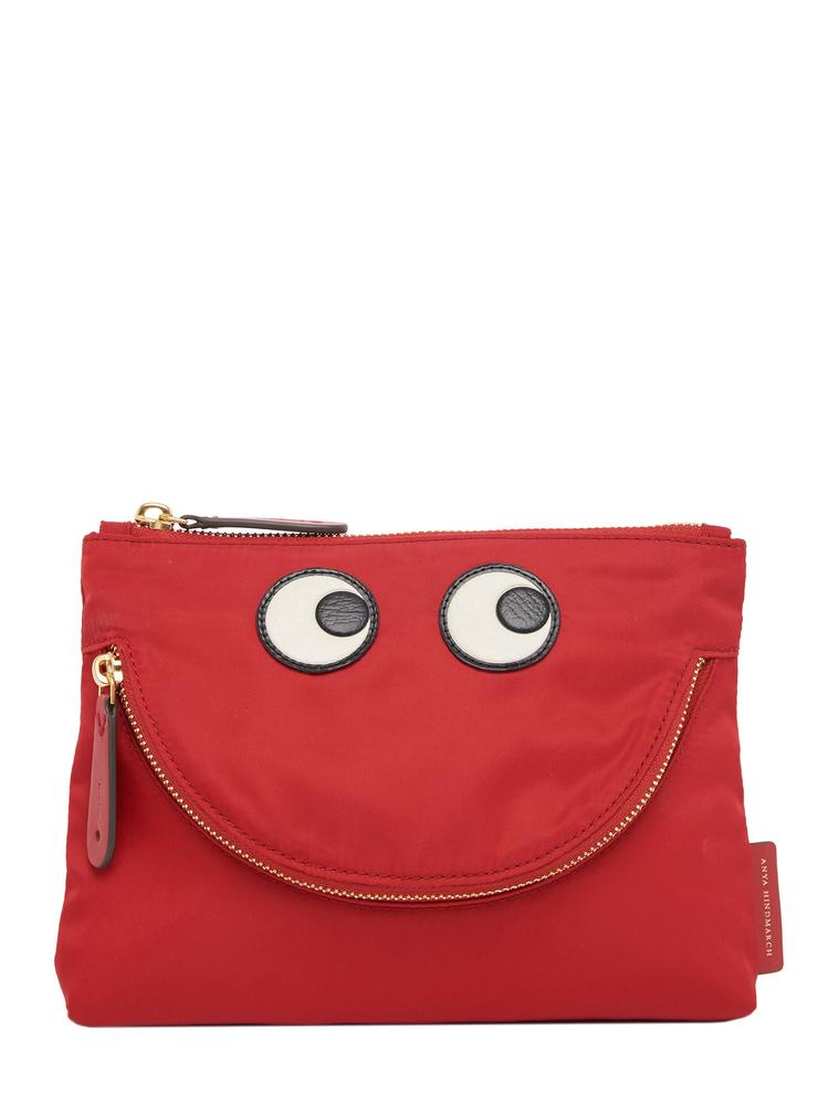 Anya Hindmarch Happy Eyes Pouch, Red