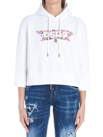 Dsquared2 Cropped Sleeves Logo Hoodie