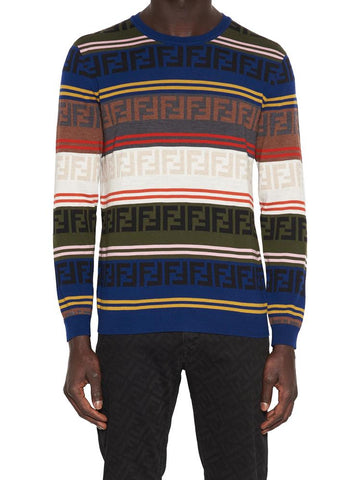 Fendi All Over Logo Colourblock Sweater