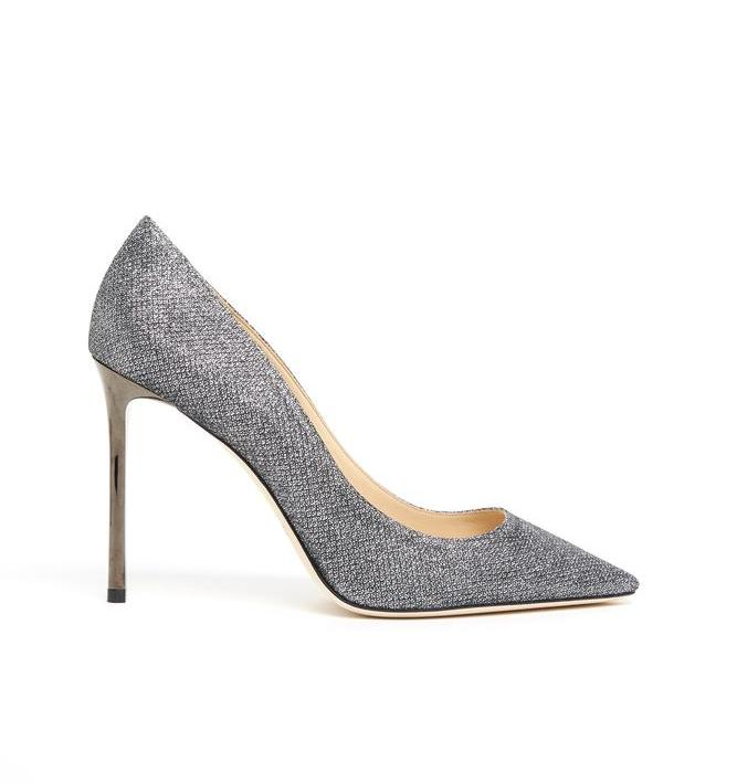 JIMMY CHOO ROMY 100 GLITTERY PUMPS
