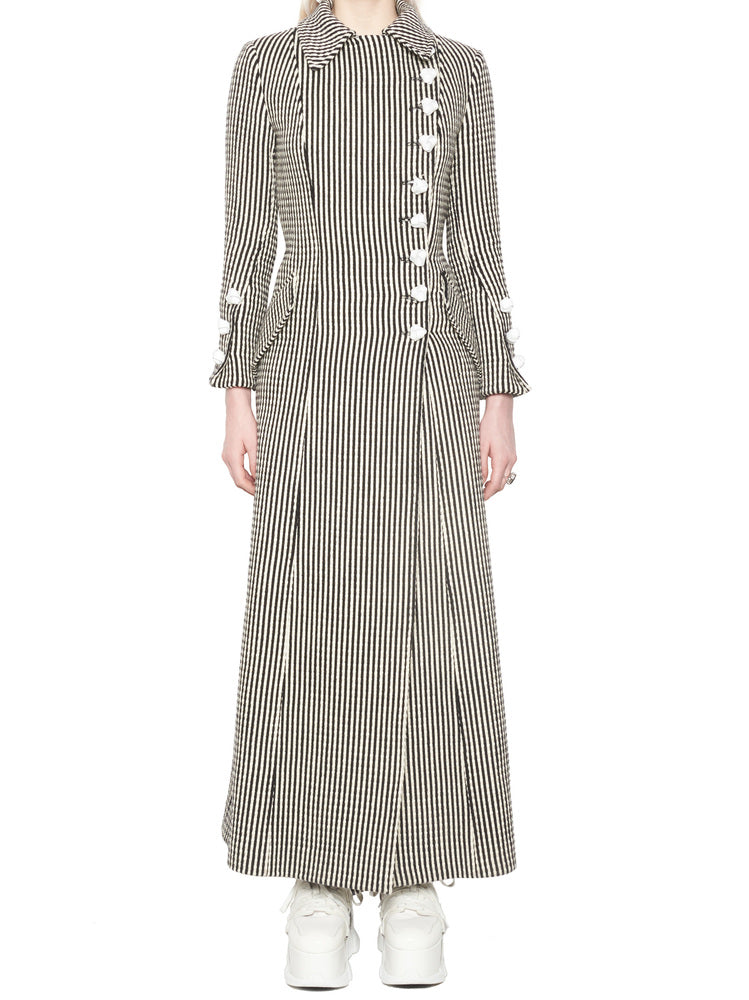 Marques' Almeida Coats MARQUES'ALMEIDA STRIPED LONG COAT