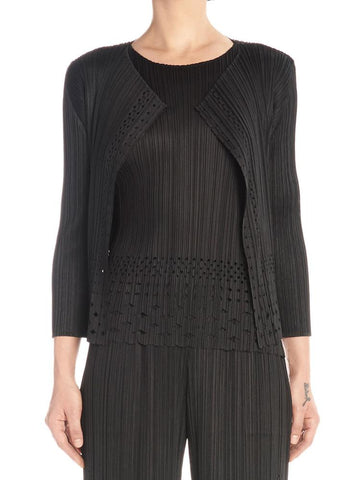 Pleats Please By Issey Miyake Cut Out Lace Cardigan