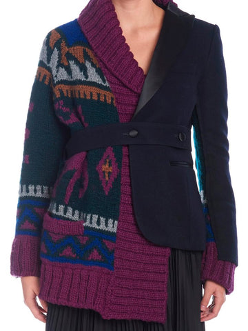Sacai Contrast Belted Jacket