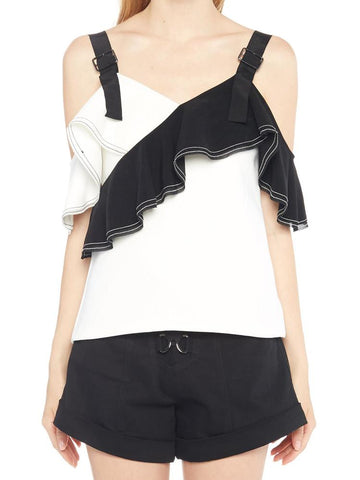 Self-Portrait Contrast Ruffle Front Detail Blouse