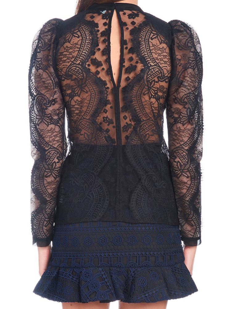 f92015b1458a7 Self-Portrait Puff-Sleeved Lace Blouse – Cettire