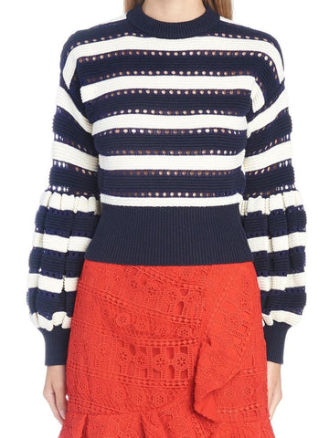 Self-Portrait Striped Puff Sleeves Sweater