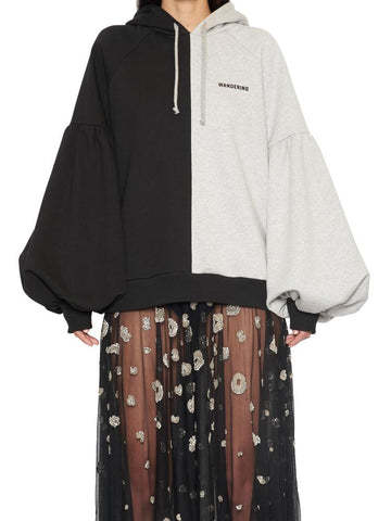 Wandering Two-Tone Balloon Sleeves Hoodie