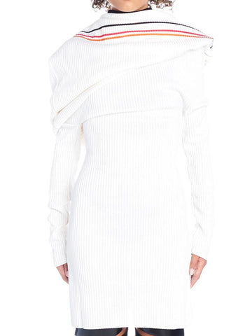 Y / Project Off Shoulder Ribbed Stripe Dress