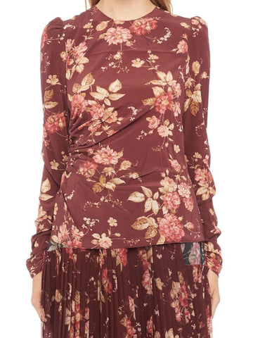 Zimmermann Floral Print Draped Blouse
