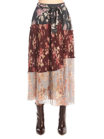 Zimmermann Floral Pleated Asymmetric Skirt