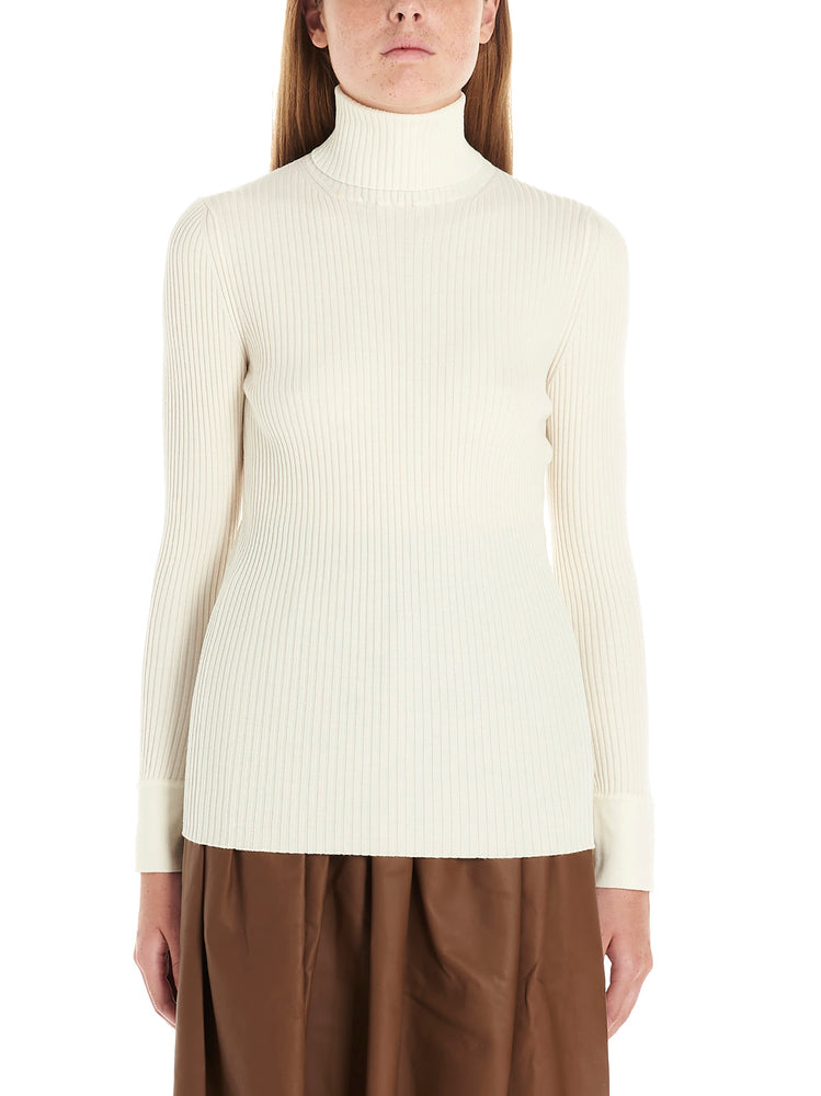 Agnona T-shirts AGNONA TURTLENECK RIBBED SWEATSHIRT