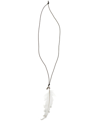 Ann Demeulemeester Feather Pendant Long Necklace