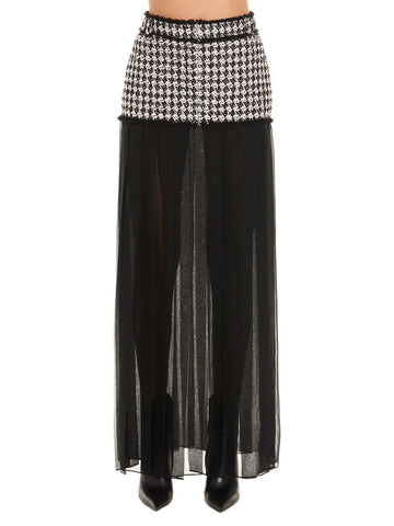 Balmain Sheer Pleated Trim Houndstooth Skirt