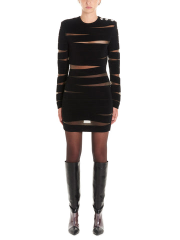 Balmain Sheer Detail Striped Fitted Dress