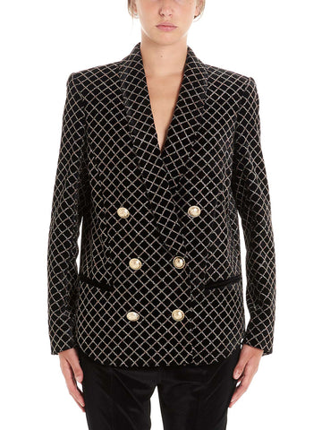 Balmain Glittered Grid Effect Double Breasted Blazer