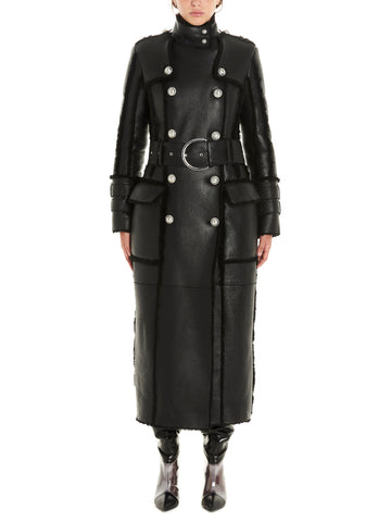 Balmain Belted Double Breasted Shearling Coat
