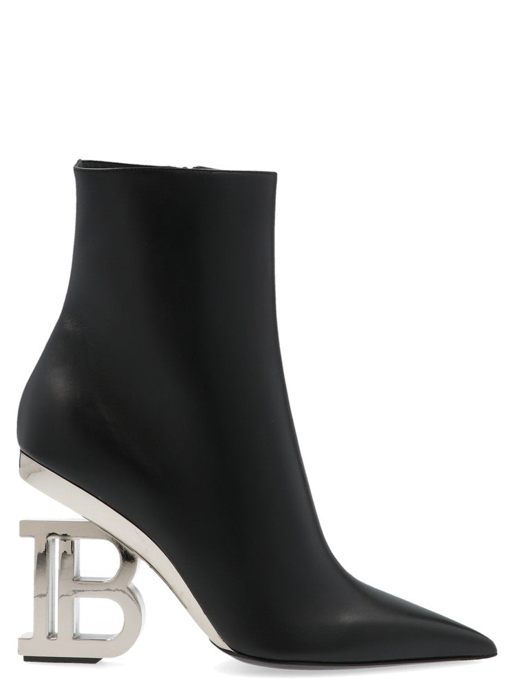 Balmain Pointed Toe Logo Heel Ankle Boots