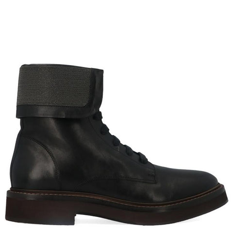 Brunello Cucinelli Lace-Up Combat Boots