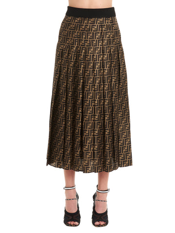 dfa7a0bb2e11b4 Fendi Monogram Pleated Midi Skirt