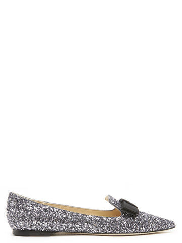 Jimmy Choo Gala Glitter Flat Shoes