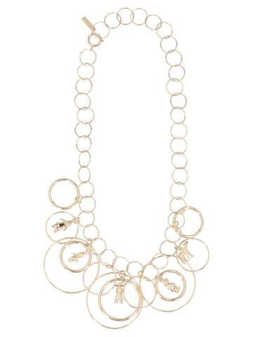 Marni Multiple Charms Circle Hoop Necklace