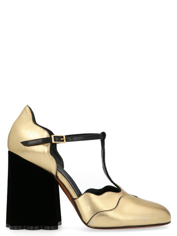 Marni Mary Ankle Strap Sculpted Pumps