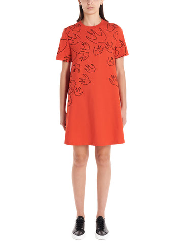 McQ Alexander McQueen Swallow Print Short Sleeve Dress
