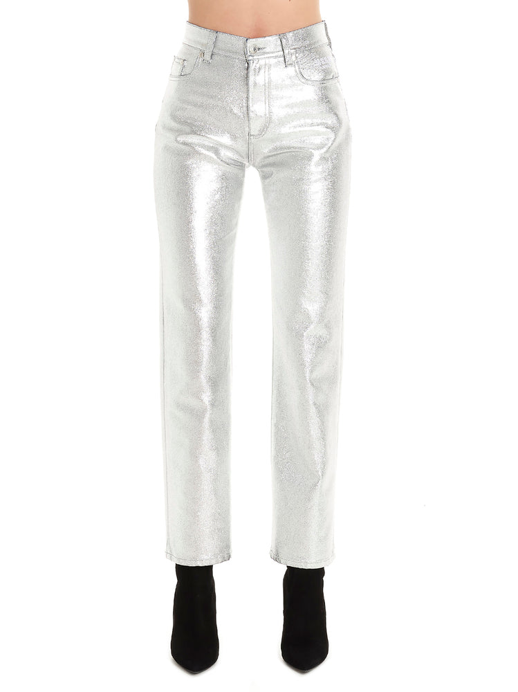 Msgm MSGM Metallic Effect Coated Ankle Jeans