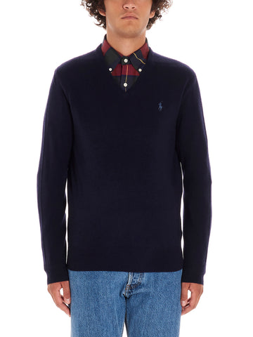 Polo Ralph Lauren V Neck Logo Embroidered Pullover